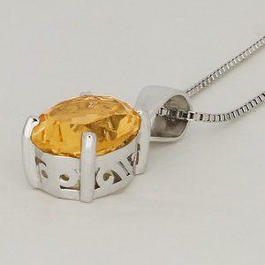 Jewelry - Genuine Citrine Sterling Silver Necklace
